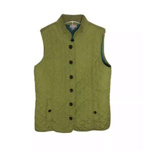 J. Jill Citron Green Blue Quilted Vest Button Up S
